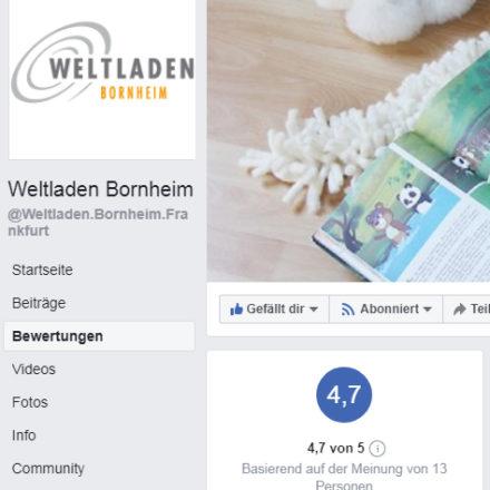 Reiter Bewertungen auf der Facebook Seite des Weltladens Frankfurt Bornheim