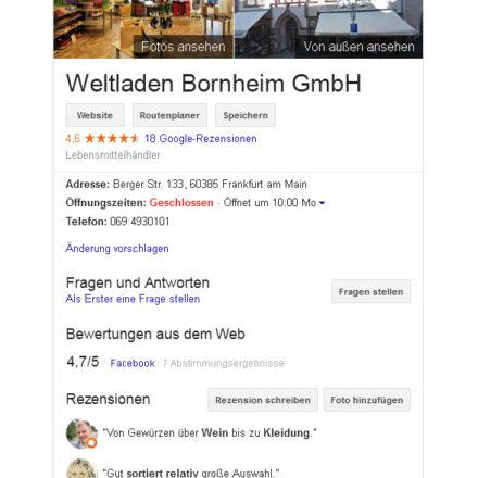 Google Firmeneintrag Weltladen Bornheim mit Google Bewertung und Angabe der Facebook Bewertung