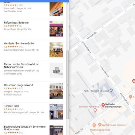 """Google Maps Suche nach """"Einkaufen"""" in Frankfurt Bornheim"""