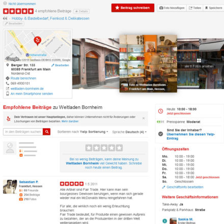 Yelp Eintrag Weltladen Frankfurt Bornheim