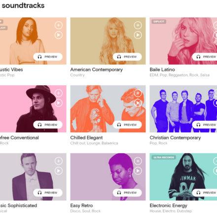 Soundtracks sind auf die Bedürfnisse von Geschäftskunden hin optimiert. Es wird eine große Auswahl an laufend aktualisierten Soundtracks für unterschiedliche Stimmungen angeboten.