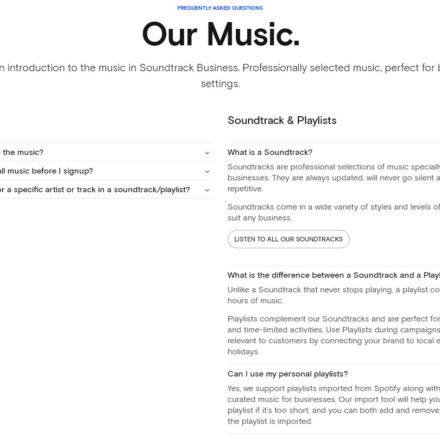 Der Unterschied zwischen einem Soundtrack und einer Playlist ist, dass eine Playlist statisch ist und aus ca. 6 bis 8 Stunden Musik besteht. Soundtracks werden stetig aktualisiert, Wiederholungen von Musiktiteln sind hier ausgeschlossen.