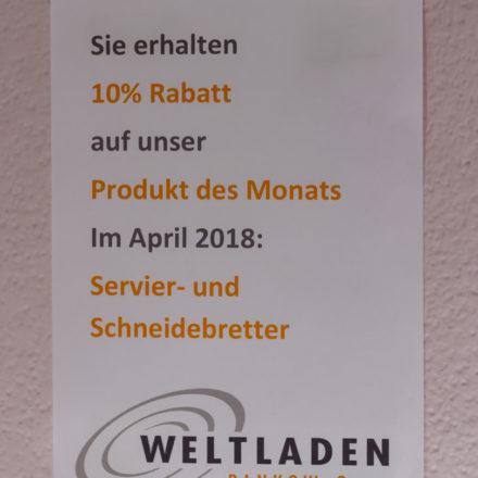 Plakat im Weltladen Berlin Pankow für das Produkt des Monats April 2018